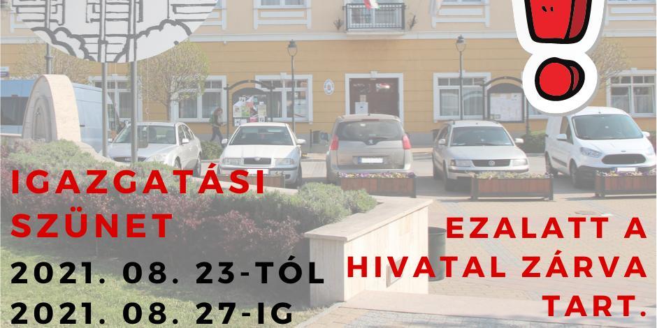 Augusztusi igazgatási szünet a  Pilisvörösvári Polgármesteri Hivatalban