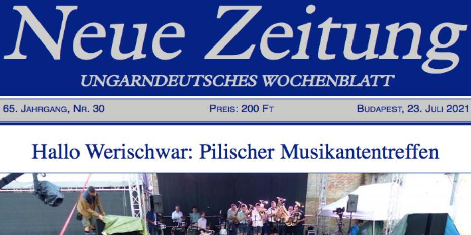 Hallo Werischwar! a Neue Zeitung Ungarndeutsches Wochenblatt címlapján